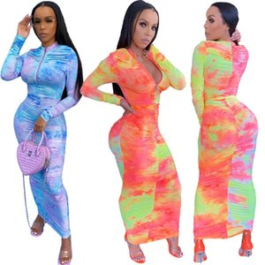 Designer Women Long Dress Bodysuit Slim Sexy Tie Dye Pleated Zipper Long Sleeve Ladies New Fashion Dresses Skirt