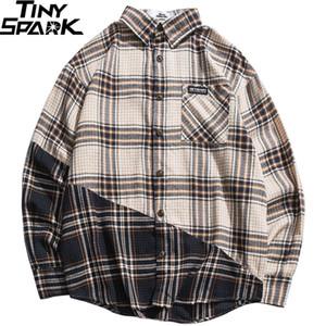 Мужчины плед хип-хоп уличная одежда цвет блокировки с длинным рукавом ретро винтажная клетчатая рубашка повседневная осень