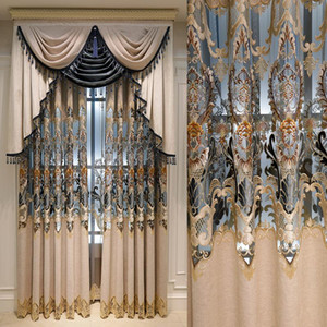 New Luxury European Style Chenille Water-soluble Embroidery Half Shading Curtains for Living Dining Room Bedroom.