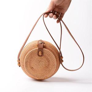 Hand Woven Rattan Shoulder Bag Beach Handwoven Round Handbag Women Hand Bags Straw Basket Pouch PU Leather Strap Crossbody Bag