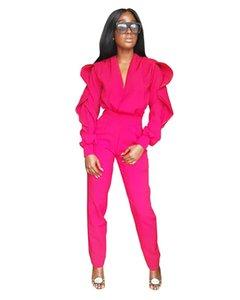 Sexy Ruffle Designer Womens Rompers Fashion Soild Color Womens Jumpsuits Fashion V Neck Slim Womens Clothing