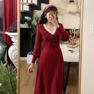New Elegant 2021 flashlight sleeve the thread knitted temperament v neck Standard female sweater twist Autumn dress red y257 MPUE