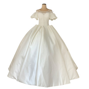 Vintage Ivory Ball Gown Wedding Dresses with Puffy Sleeves Appliques vestidos de noivas 2020 Pearls Beaded Wedding Gowns Bride Dress