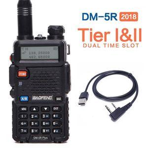 2020 Baofeng DM-5R PLUS Tier 1 Tier 2 Digital Walkie Talkie DMR Rádio bidirecional VHF / UHF Dual Band Radio + A USB Cable1
