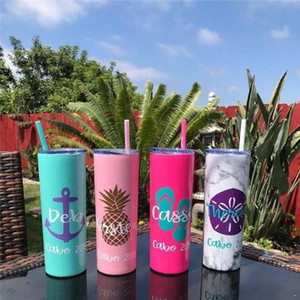 US STOCK 20 oz Blank Sublimation Skinny Tumbler DIY Blank Stainless Steel Cup Double Wall Wine Tumbler With Lids and Straws Gifts
