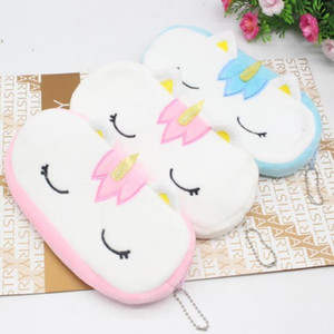 6 Renkler Çocuk Karikatür Unicorn Kalem Çantası Kolye Peluş Kozmetik Çanta Sikke Çanta Peluş Kalem Kutusu Makyaj Kılıfı Saklama Torbaları Parti Hediye