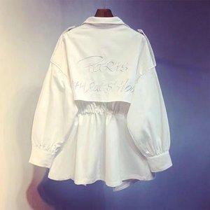 New Korean Autumn Back Embroidery Letters Windbreaker Long Loose Casual Coat Trench Women Fashion Streetwear 2020
