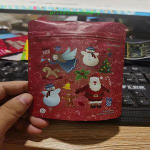 Nouveaux cadeaux de Noël Sacs de Noël Sacs De Noël Emballage 3 5G Mylar Sacs Biscuits Sacs Sacs Medibles Baggies West Coast Cure Rackpackboyz Nouveaux cookies
