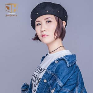 joejerry Wool French Beret Female Harajuku Beret Painter Hat Hip Hop Winter Hat with Rivet New Arrial