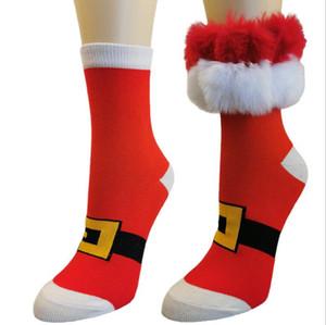 Navidad rojo blanco calcetines de rodilla rayada con adornos de piel de fiesta divertido regalo algodón medio claf calcetines invierno algodón medias muslo