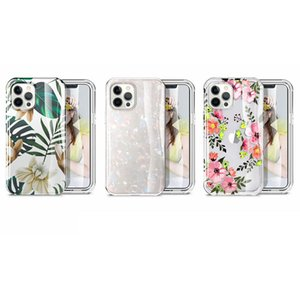 Trasparent Defender Hard PC+Soft TPU Hybrid Layer Case For Iphone 12 Mini 12 Pro MAX 12 Flower Lace 2 IN 1 360 Full body Covrage Cover