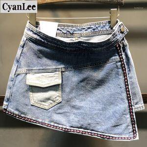 Cyanlee Denim Shorts Women 2020 Summer New Fashion High Waistpersonality Pockets Package Hip Shorthigh Waist Jeans Shorts1