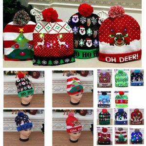 Nouveau Led de Noël Chapeau de Noël de lumière Tricoté-up Beanies Hats extérieur Lumière Pompon Boule de ski Cap pour Santa Bonhomme de neige renne Arbre de Noël HH9-2463
