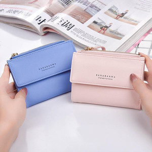 New Leather Short Pattern Coin Wallet 15 Purse Passcard Pockets Note Holder Women Card Compartment Wallet Bag CC Passcard X Boxno