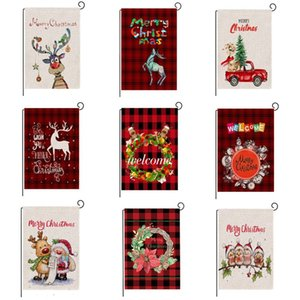 Christmas Garden Flag Christmas Plaid Flag series pattern Banner Flags 47*32cm Christma Party Supplies Decorations T2I51677