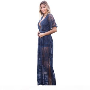 Deep V-neck Lace Evening Party Dresses 2017 Summer Hollow Out Long Maxi Split Dress Ladies Sexy Boho Beach Vestidos