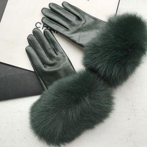 Maylofuer verde oscuro guantes de piel de oveja guantes de cuero genuinos de alta calidad elegante de la mano de la mujer de cuero suave