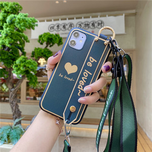 Fashion Love Wristband Lanyard Phone Case For Samsung Galaxy Note20 S20 Ultra S20fe Note10 S10 S9 S8 Plus Relief Silicone Shockpoof Cover