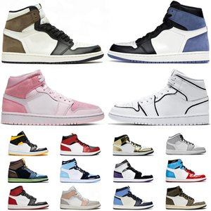 Nike Air Jordan Retro 1 Mit Socken Jumpman 1 1s Damen Herren Basketballschuh Satin Schwarz Zehen UNC Metallic Gold Digital Pink Outdoor Trainer Sport Turnschuhe