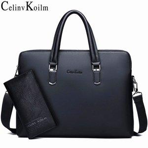 Celinv Koilm мужская кожаный портфель сумка бизнес знаменитый бренд плечо мешок сумки офисная сумка 14-дюймовый ноутбук высокое качество LJ201012