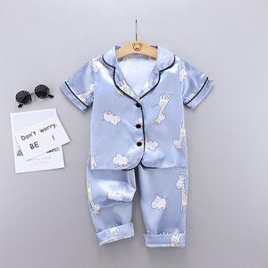high quality Children's Sleepwear girl boy Short Sleeve Cartoon Giraffe Print Sleepwear Home Service Set summer explosion