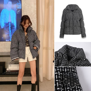 Fashionable stand collar Korean bread suit fall   winter 2020 new style bubble sleeve cardigan coat checked cotton jacket