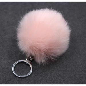 Christmas Gift Artificial Rabbit Fur Ball Plush Fuzzy Fur Key Chain Pom Pom Keychain Car Bag Keychain Key Ring Pendant Jewelry F jllpYj