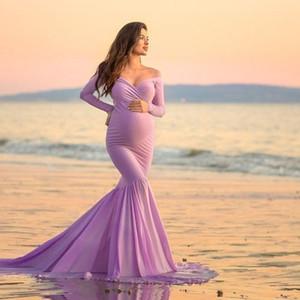 긴 소매 출산 드레스 섹시한 V 목 가운 맥시 롱 플라워 드레스 임신 한 여성을위한 드레스 사진 촬영을위한 임신 드레스 Y200805