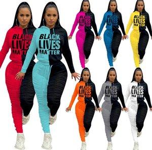 Женщины Tracksuit Черные Lives Matter Письма с длинными рукавами с капюшоном Топы руно плиссе Брюки Леггинсы Зимние Утолщенные Спортивный костюм D102102