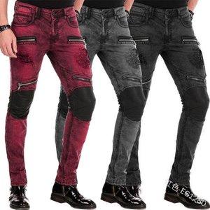 Мужчины молнии джинсы тонкий вскользь плюс размер с низкой талией Тощий Jeans Полная длина Падение Мода карандаш штаны