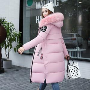Women's Down Parkas Winter Jacket Big Fur Thick Slim Coat Fashion Zipper Hooded Female Long Outerwear Y64