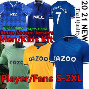 Everton maillots de football rétro soccer jerseys #19 James  2020 2021 KIT Hommes ET Enfants  #7 Richarlison Kean Davies Uniformes 1987 1988 1994 1995 football Jersey