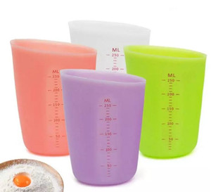 250ml Food Measuring Cup Semi-permeable Double-scale Silicone Measuring Cup Graduated Beaker Cooking Baking Kitchen Measuring Tool SN1982