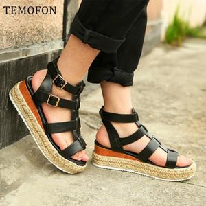TEMOFON 2020 sandalias de plataforma de moda para las mujeres de las sandalias peep toe de gladiadores verano las mujeres zapatos de cuña negro tamaño de zapatos grandes HVT1163