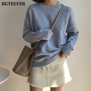 BGTEEVER Basic O-neck Knitted Jumpers for Women Sweater Casual Loose Long Sleeve Winter Sweater Female Pullovers Streetwear 200928