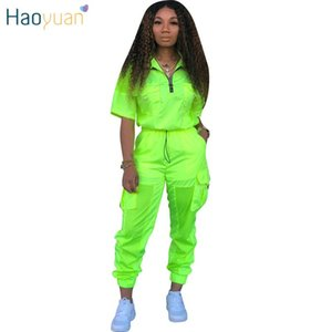 HAOYUAN Neon Green 2 Two Piece Set Tracksuit Women Festival Clothes Plus Size Summer Outfits Top+Pant Sweat Suit Matching Sets