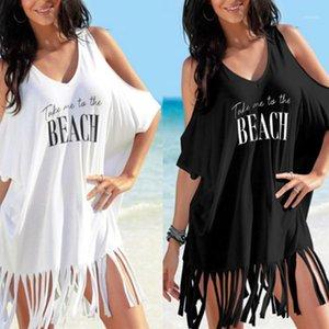 Blusa suelta de las mujeres Falda sexy de la letra de verano Vestido de impresión del hombro con cuello en v bikini Bikini Traje de baño sin tirantes 20201 Geebe