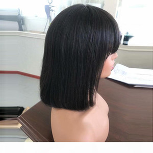 Short Bob Human Hair Wigs With Bangs For Black Women Lacefront Wig Human Glueless Virgin Peruvian Full Lace Front Bob Wigs