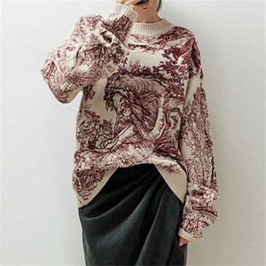 Runway Designers 2019 Fashion Women's Sweater Animal Print Embroidery O-Neck Sweater Elegant Women Loose Pullover