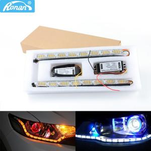 2 adet LED Far Esnek Şerit Işık Beyaz Kehribar Switchback Lambası far Sıralı Flaşör Çift Renkli DRLTurn Signal
