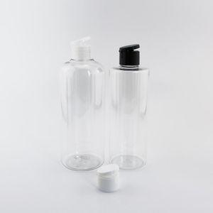 300ml / 400ml de gran tamaño vacío envases cosméticos transparentes con el casquillo Unión superior de plástico Champú Cabello Producto Botellas 12pcs / lot