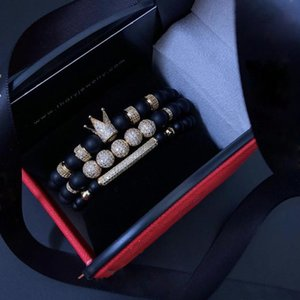 Men Bracelet 3pcs set Uxury Fashion Crown Charm Bracelet Natural Stone For Women And Mens Pulseras Masculina for Women bracelets