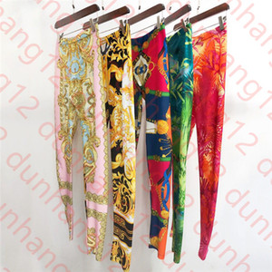 European and American autumn new style retro high waist color matching abstract print stretch slim leggings