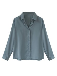 blue shirt women Chiffon Top design sense minority 2020 new autumn loose long sleeve professional formal shirt