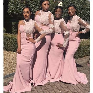 Black Girls Pink Lace Mermaid Bridesmaid Dresses One Shoulder Long Sleeves Sweep Train Applique Maid Of Honor Gowns Wedding Party Dresses