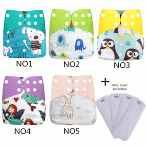 [simfamily]4+4 set Reusable Waterproof digital printed baby Cloth Diaper One Size Pocket baby nappies wholesale price fit 201020