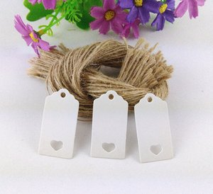 4x2cm White Price Tags Gift Small Hang Tag With Heart Hole Blank DIY Price Tag Garment Cards 200pcs Tags+200pcs Hemp Strings