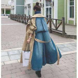 Sharezz 2020 Sonbahar Yeni Trençkot Kadınlar Için Moda Denim Patchwork Haki Aşırı Diz Palto Kruvaze Uzun Windbreated 1031