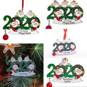 Wood Merry Christmas Tree Ornaments 2020 Маска Красный шар Санта-Клаус семьи DIY Имя Подвеска Открытый Декор Hangings 6 8XF G2