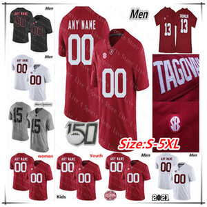 Personalizzato 2021 Alabama Crimson Tide Football Jerseys Bryce Young Dylan Moses Brian Robinson Jr. Jase McClellan John Metchie III Tagofovailoa 5xl